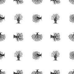 Seamless background of silhouettes various deciduous trees