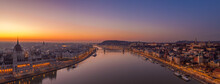 Panoramic Aerial Drone Shot Of Danube Wich Chain Bridge Fisherman Bastion Sunrise In Budapest Dawn