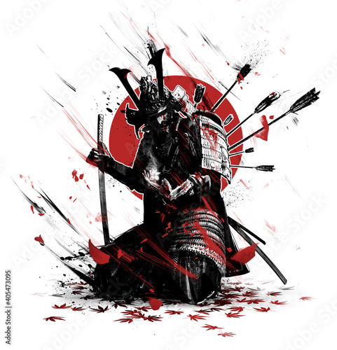 Fotografie, Tablou The black silhouette of a samurai wounded by arrows, bloodied he leans on his katana, in the last moment of his life looks at the white magic sakura flower in his hand