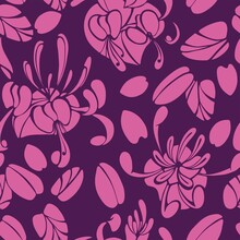 Seamless Pattern With Pink Honeysuckle Flowers And Leaves On A Burgundy Background.