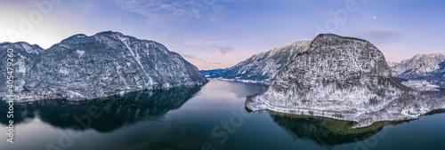 Aerial panoramic drone shot of Salzkammergut Mountains around Ha