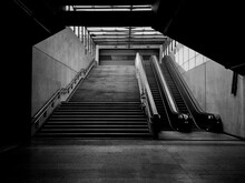 Low Angle View Of Staircase At Subway Station