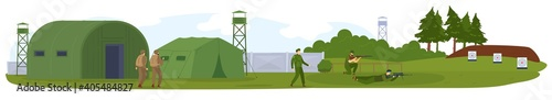 Fotografiet Military army force, base or camp with armed solgiers in camouflage vector illustration