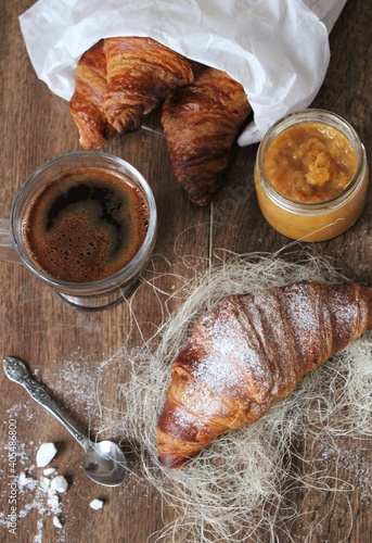High Angle View Of Croissants On Table
