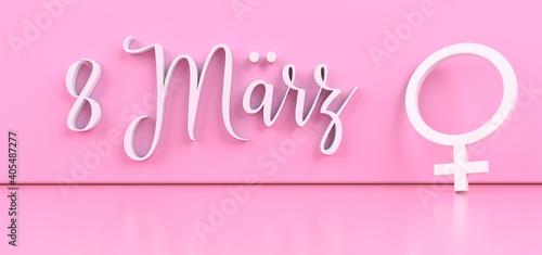 Obraz na plátně International Women's Day banner with white venus symbol