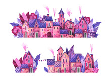 Cute, Romantic Streets Of The Medieval City Painted In Watercolor. Illustration Of A Pink-purple Flower City. Gray, Hydrangea, Hearts And Garland, Cute Houses.