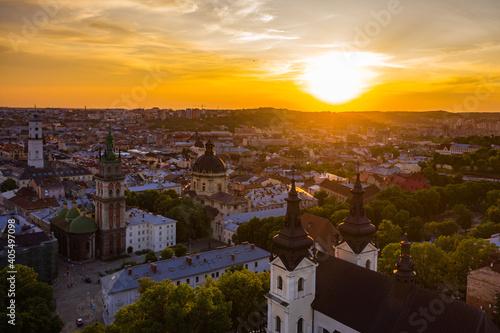 Foto Aerial view on Carmelite Church ( Michael the Archangel church) in Lviv, Ukraine