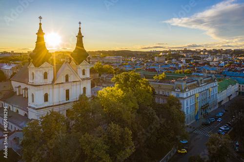 Leinwand Poster Aerial view on Carmelite Church ( Michael the Archangel church) in Lviv, Ukraine