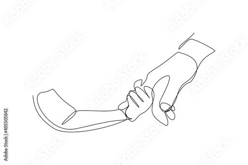 Obraz na plátne Continuous line drawing of parent giving hand to his child
