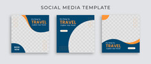 Editable Template Post For Social Media Ad. Instagram Template Post. Web Banner Ads For Travel Promotion .design With Blue And Yellow Color.