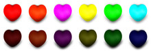 Set 3d Illustration Of 12 Colorful Hearts On White Background. The Collection Of Hearts Contains Red, Orange, Pink, Yellow, Green, Blue, And Each Darker Color.