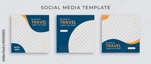 Obraz Editable template post for social media ad. Instagram template post. web banner ads for travel promotion .design with blue and yellow color.  - fototapety do salonu