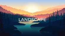 Landscape With Silhouettes Of Mountains And Mountain River. Nature Background.
