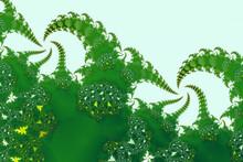 Green Fractal Fern Shapes Absract Pattern