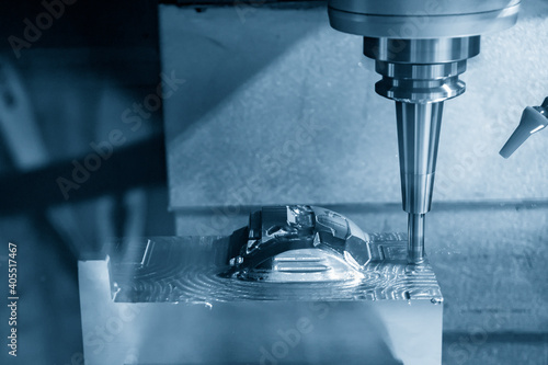 The  CNC  milling machine cutting  the mold parts by solid ball  end-mill tool Fototapeta