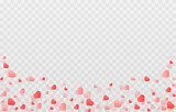 Vector confetti from hearts. Hearts rise to the top on an isolated transparent background. Heart, confetti png. Background for Valentine's Day.