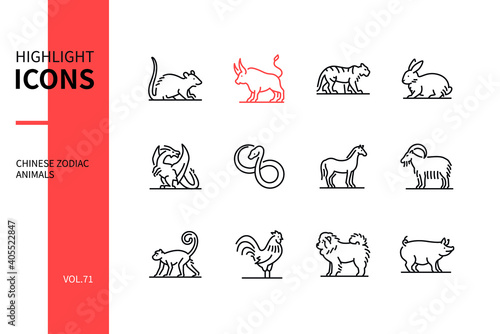 Fotomural Chinese zodiac animals - line design style icons set