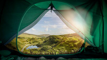 Scenic View Of Landscape And Lake Seen Through Tent Against Sky