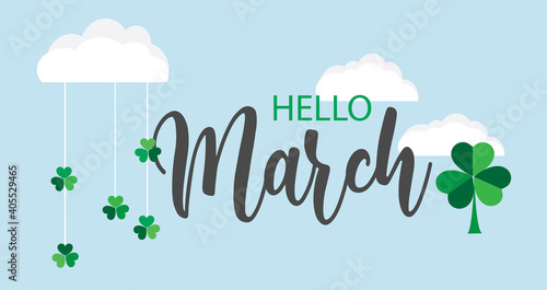 Obraz Hello March vector background. Cute lettering banner with clouds and clovers illustration. - fototapety do salonu