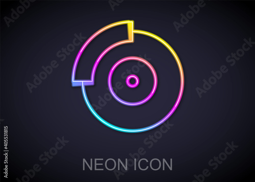 Photo Glowing neon line Car brake disk with caliper icon isolated on black background