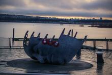 Merchant Seafarers' War Memorial, Statue, Cardiff Bay, Wales, UK, December 2018, Sunset