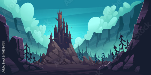Creepy castle on rock at night, haunted gothic palace in mountains, building with pointed tower roofs, glowing windows and bats flying in dark sky. Fantasy Dracula home, Cartoon vector illustration