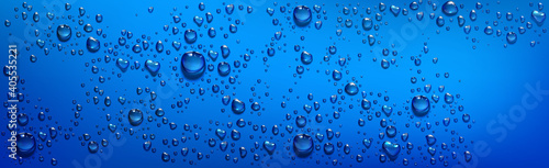 Blue background with clear water droplets Wallpaper Mural