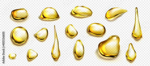 Fototapeta Golden drops and puddles of oil or liquid honey isolated on transparent background. Vector realistic set of gold drips of organic cosmetic or food oil, top view of clear yellow stains obraz