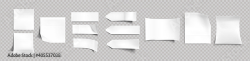 Obraz White stickers of different shapes with shadow and folded edges, tags, sticky notes for memo mockup isolated on a transparent background. Paper adhesive tape, empty blanks Realistic 3d vector set - fototapety do salonu