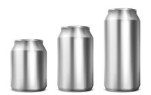 Aluminium Cans Different Sizes For Soda Or Beer Isolated On White Background. Vector Realistic Mockup Of Metal Tin Cans For Drink Front View. 3d Template Of Blank Silver Package For Cold Beverage