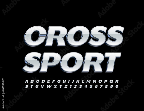 Vector modern logo Cross Sport. White and Silver 3D Font. Glossy Alphabet Letters and Numbers set