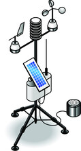 A Transportable Weather Station With Solar Panel, Antenna, Wind Vane, Wind Speed Sensor, Rain Gauge And Thermometer/hygrometer.