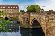 The View Across The River Great Ouse Along The Old Bridge At Riverside, Godmanchester In Springtime