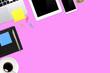 Leinwandbild Motiv Directly Above Shot Of Technologies On Pink Background