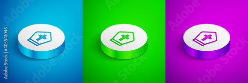 Foto Isometric line Pope hat icon isolated on blue,green and purple background