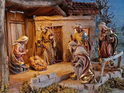 Fényképezés Weihnachtskrippe ländlich, Krippenszene, ländliche Weihnachtskrippe, Krippe, Jeu