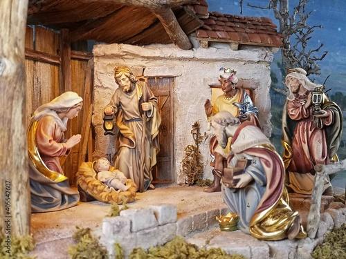 Billede på lærred Weihnachtskrippe ländlich, Krippenszene, ländliche Weihnachtskrippe, Krippe, Jeu