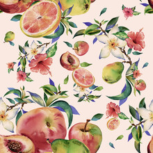Watercolor Seamless Pattern Of Flowers And Fruits