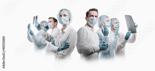 Fotografie, Obraz team of doctors men and women fighting diseases and viruses