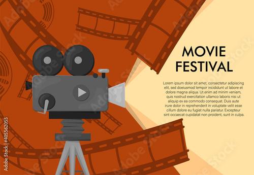 Valokuva Retro style international movie festival poster template
