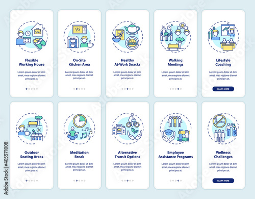 Fototapeta Corporate wellness onboarding mobile app page screen with concepts set. Workspace health promotion activity walkthrough 5 steps graphic instructions. UI vector template with RGB color illustrations obraz