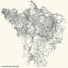 Black Simple Detailed Street Roads Map On Vintage Beige Background Of The Neighbourhood London Borough Of Bromley, England, United Kingdom