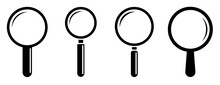 Magnifying Glass Icon Set Isolated. Search Icon. Magnifier Vector Simbol. Stock Vector