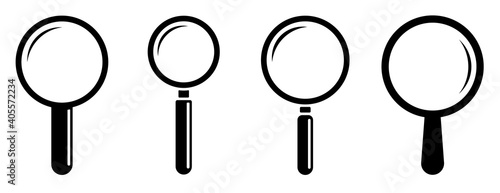 Fotografija Magnifying glass icon set isolated