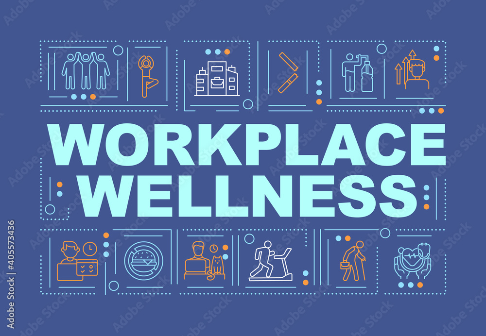 Fototapeta Workplace wellness word concepts banner. Support healthy life of your company employees. Infographics with linear icons on navy background. Isolated typography. Vector outline RGB color illustration