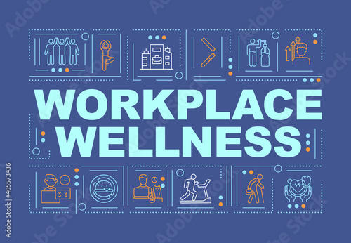 Fototapeta Workplace wellness word concepts banner. Support healthy life of your company employees. Infographics with linear icons on navy background. Isolated typography. Vector outline RGB color illustration obraz