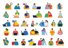 Set Of People, Men And Women, Family With Kids Reads Book, Works On Laptop, Searches With Magnifier, Communicates. Vector Graphic Objects For Collages And Illustrations.