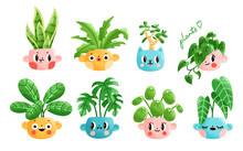 Set Of Colorful Potted Plants. Vector Illustration Of Ceramic Pots With Cute Faces Expressing Various Emotions. Includes Monstera, Jade Plant, Pilea, Etc. Modern Cartoon Style.
