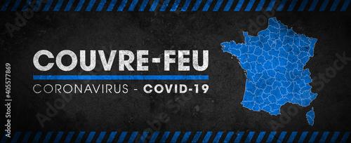 Obraz Couvre-feu dans la France entière, à partir du samedi 16 janvier - pandémie du coronavirus covid19 - déplacement interdit de 18h à 6h - fototapety do salonu