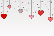 Valentine's Illustration, On White Gradient Background With Hanging Pink Hearts, Stars And Dots.Wedding Desing
